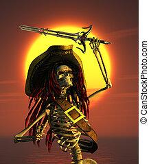 tropical, sol, esqueleto, pirata