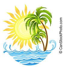 tropical, sol, palmas, océano