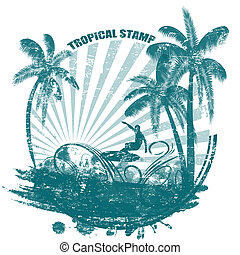 Tropical grunge rubber stamp with palms and surfer, vector illustration