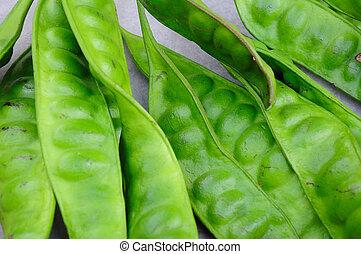 Tropical stinking edible beans on white background (Parkia ...