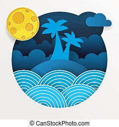 Tropical Storm In The Ocean With Big Waves In Paper Style. Vector