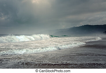 Tropical storm on the island of Phuket in Thailand