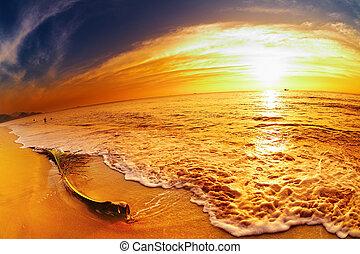tropical strand, hos, solnedgång, thailand