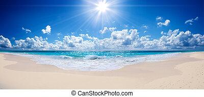 tropical strand, -, landskab, hav