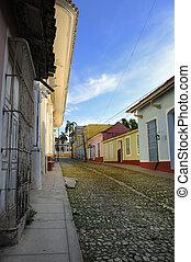 Tropical street in Trinidad town, cuba