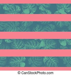 Tropical stripes seamless vector pattern. Teal blue and coral red horizontal striped texture with monstera palm leaf shapes. Philodendron leaves texture. Repeating contemporary geometric background.