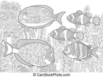 tropical, submarino, peces, plano de fondo, océano