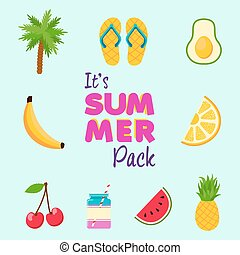 Tropical summer beach decoration icon set