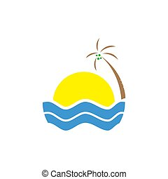 tropical summer beach logo design. vacation with sun and wave template Vector illustration