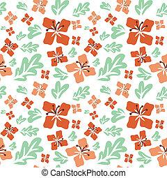 Tropical summer flowers seamless pattern