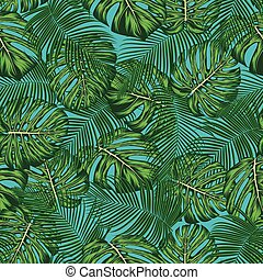 Tropical summer leaves seamless pattern. vector background