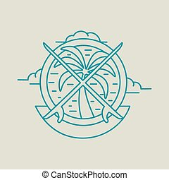 Tropical summer palm tree icon with surf boards