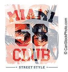 Tropical summer print with slogan for t-shirt graphic and other