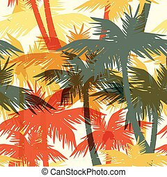 Tropical summer seamless print with palm.