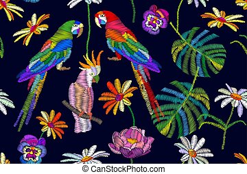 Tropical summer. Seamless vector pattern with parrots, flowers and palm leaves.
