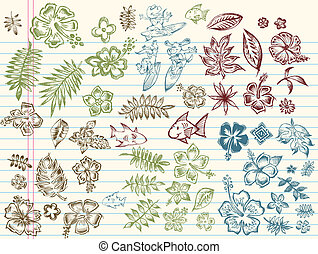 Tropical Summer Sketch Vector set