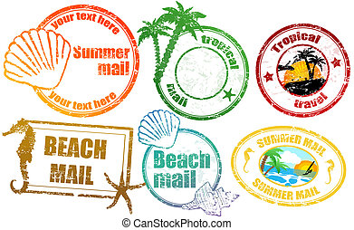 Tropical summer stamps - Collection of grunge tropical ...
