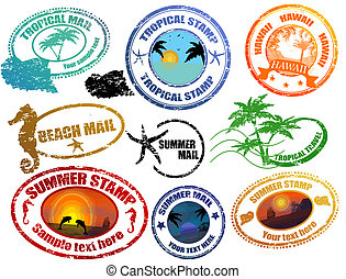 Tropical summer stamps - Collection of grunge tropical...