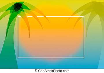 Tropical summer style background with palm tree and sunset