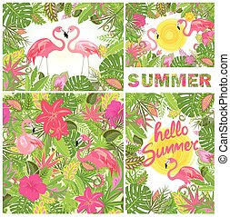 Tropical summery design with exotic flowers and flamingo