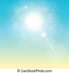 Tropical sunny background with vector sun and natural bokeh.
