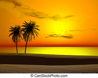 Tropical sunrise - Silhoutte of two palms at sunrise