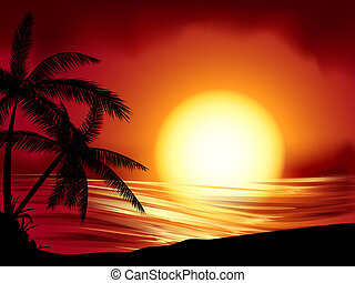 tropical sunset - background illustration of tropical island...