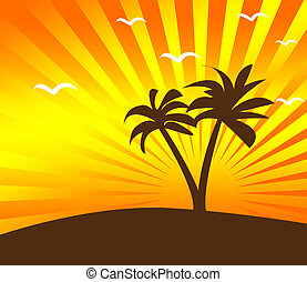 Tropical sunset background with palm tree