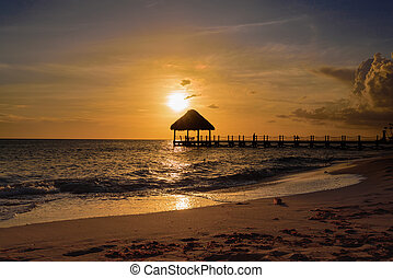 tropical sunset Caribbean sea