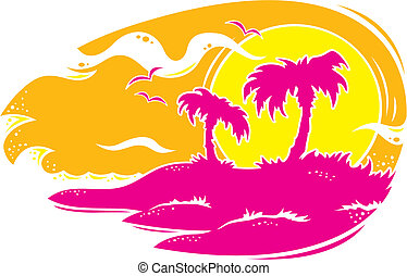Tropical Sunset - Vector drawing of a tropical sunset with...