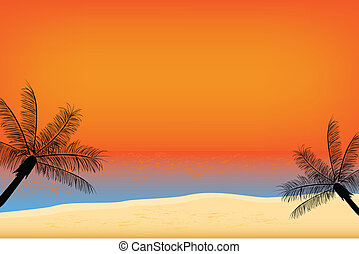 Tropical sunset at the beach