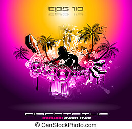 Tropical Sunset Music Party Disco Flyer - Tropical Music...
