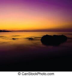 Tropical sunset on the beach. Vector