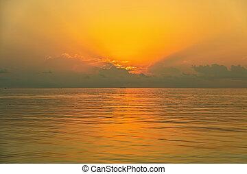 Tropical Sunset on the sea, Maldive