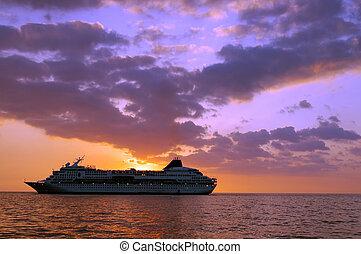 Tropical Sunset Ship