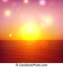 Summer sunset view with sea and sky. Tropical background. Vector illustration.