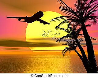 Background, illustration of tropical ocean sunset with departing airplane. Transportation, travel concept.