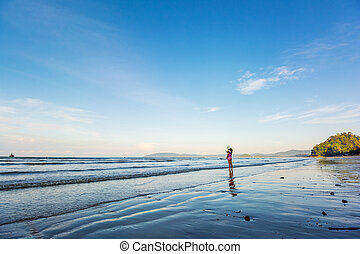 Tropical sunshine on the beach. Ao-Nang. Krabi. Thailand