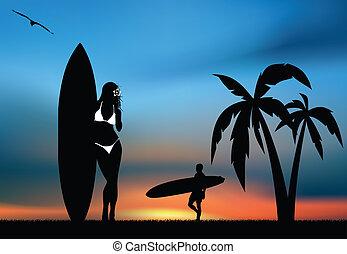 tropical, surf, paraíso
