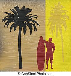 Tropical Surfer retro background
