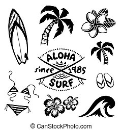 Tropical surfing and relax symbols ink sketch set in tattoo style