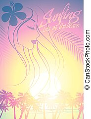Tropical surfing beach girl with palm trees at sunset