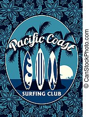 Tropical surfing club poster with palm trees and surfboards