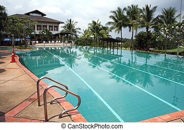 Tropical swimming pool - Swimming pool in the tropics, with ...