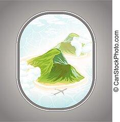 tropical sziget, óceáni látkép, hajóablak
