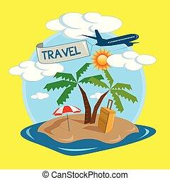 tropical sziget, utazás, vektor, tervezés