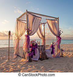tropical, tabla, boda playa