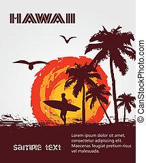 tropical, tablista, playa, silueta