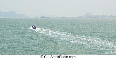 tropical, Tailandia, velocidad, barco, mar