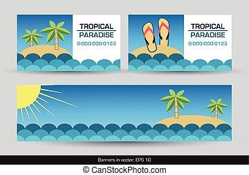 tropical, tarjetas, banderas, conjunto, empresa / negocio